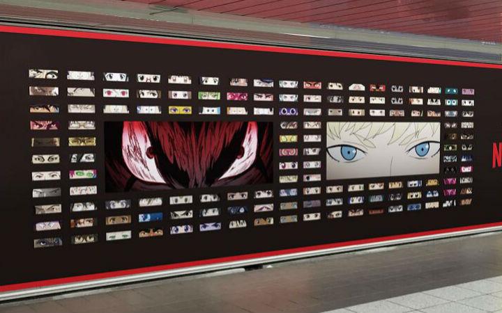 看眼睛认角色!Netflix设立动画角色眼睛的广告牌