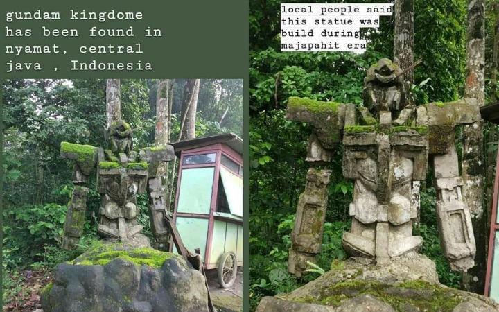 """网友在印尼发现""""高达""""石像!具体建造年代有待考证"""