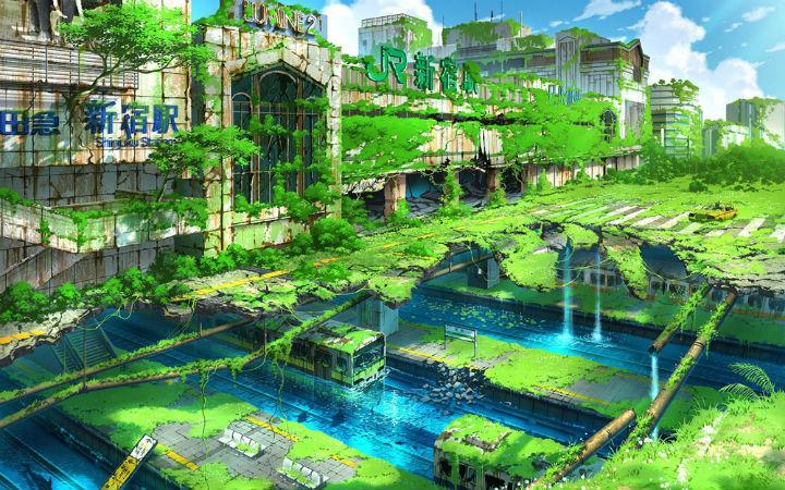 1张耗时近10小时!网友创作荒废东京插图