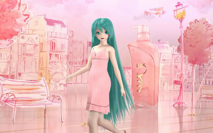 为代言改头换面 绿长直初音未来洗发水广告公布