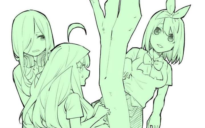 """《五等分的花嫁》作者插画恶搞模仿""""被树夹住的豹"""""""