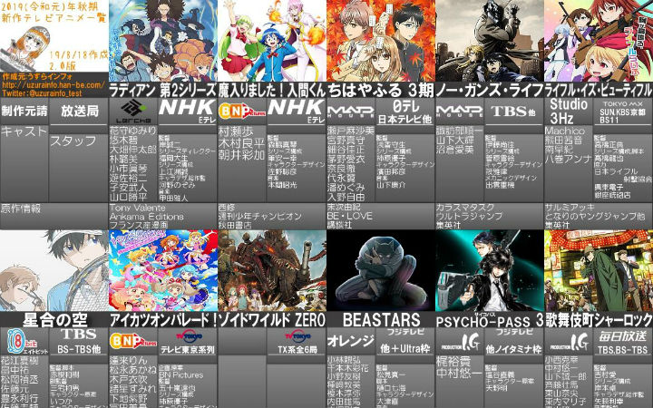 2019年秋番动画列表2.0版公开!8月第3周新闻汇总