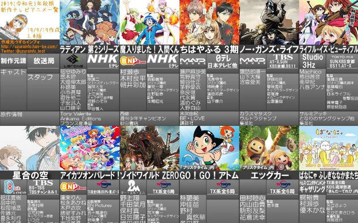 秋番动画番表3.0版!9月第4周新闻汇总