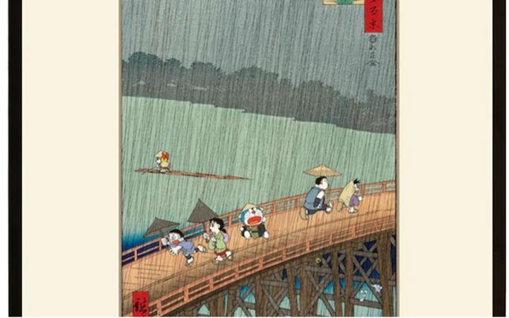 """《哆啦A梦》浮世绘系列推出新作""""大桥安宅骤雨"""""""