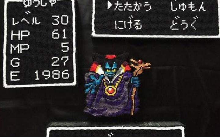 神手工!日本网友用棉签制作《勇者斗恶龙》点阵图