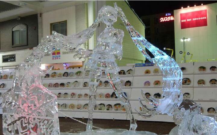大触级作品!北海道的冰雕展上冰初音登场