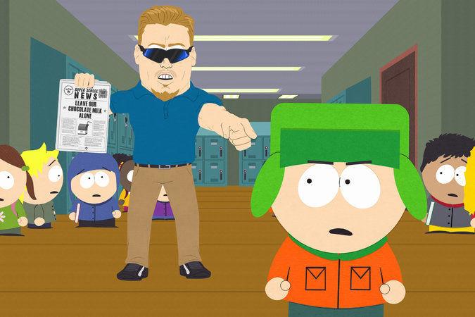 图说:新一季《南方公园》(South Park)之《推广内容》(Sponsored Content)中一个场景里的 P ・ C ・普林西普(P.C. Principal)(以及前方的凯尔[Kyle])。